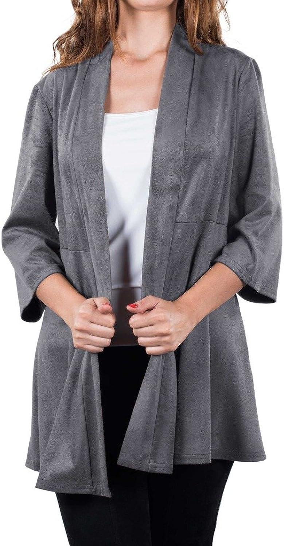 Joseph Ribkoff Grey Faux Suede Long Hem Coverup Style 163362