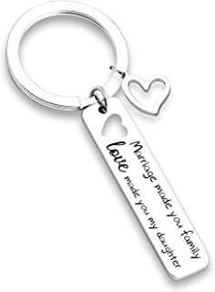 G-Ahora Step Daughter Gift Daughter in Law Gift Keychain Wedding Gift Step Daughter Keychain Jewelry for Daughter in Law-Marriage Made You Family, Love Made You My Daughter