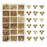 PandaHall Elite 540pcs 18 estilos oro antiguo tibetano aleación espaciador cuentas accesorios de joyería para pulsera collar joyería