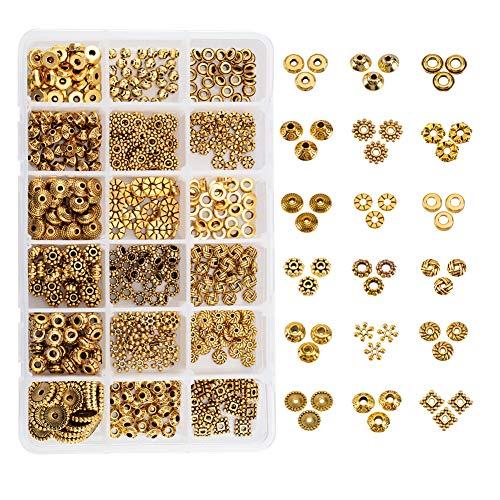 PandaHall Elite 1 Scatola 540pcs 18 Stili Lega Perline distanziatore Tibetano Perle di Metallo per monili Accessori componenti per Il Braccialetto Collana Gioielli Fai da Te Antico Dorato