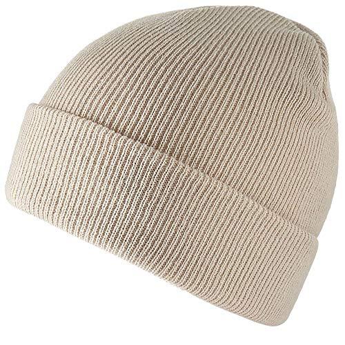 TYONMUJO Unisex Adult Knit Beanie for Men Women Warm Snug Hat Cap Beige