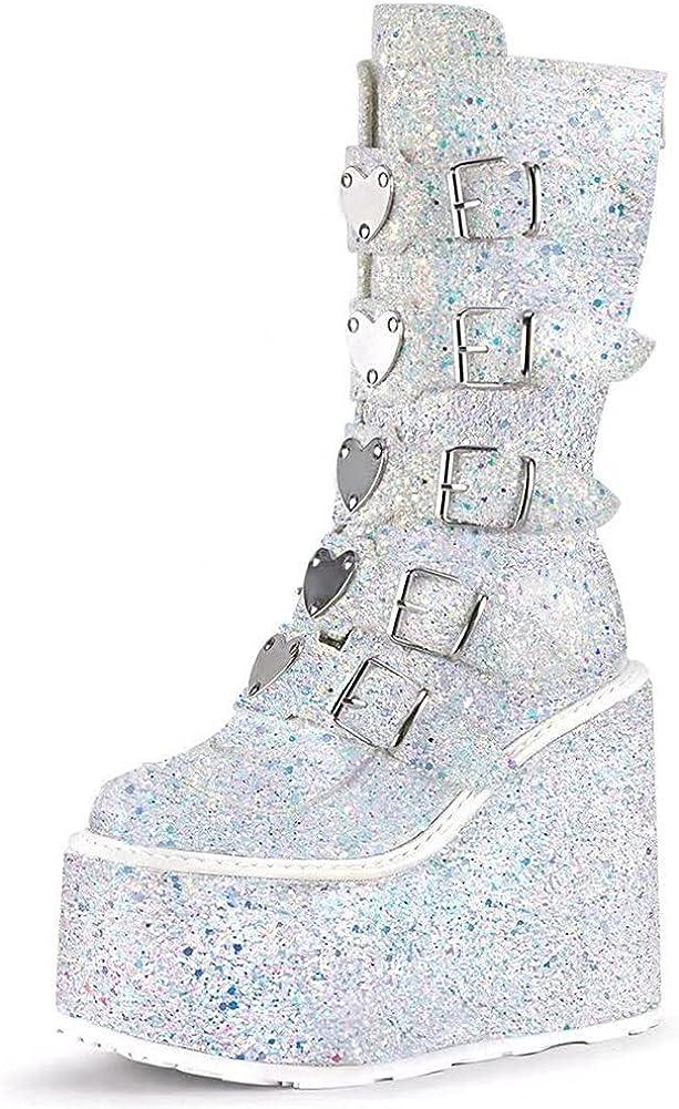 Womens Platform Punk Mid Calf Back-Zip Heel Fashion Limited price High Max 52% OFF Chunky