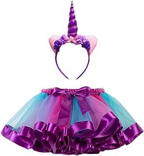 Kids Rainbow Tutu Skirt Baby Girl Costume Ballet Skirt for Carneval Party Dacing Performance Christmas Unicorn Headwear Half-length Rainbow Skirt Set - Size S (Hairband and Skirt)(Purple)