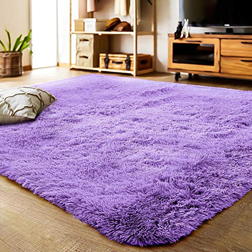 LOCHAS Ultra Soft Indoor Modern Area Rugs Fluffy Living Room Carpets Suitable for Children Bedroom Home Decor Nursery Rugs 4 Feet by 5.3 Feet (Purple)