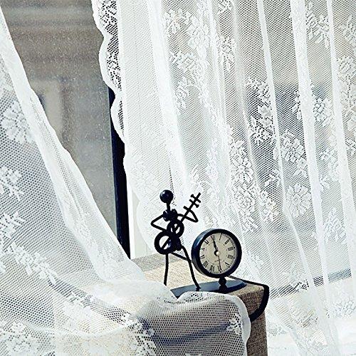 SchöNe Spitze Fenster Moskitonetz Vorhang TüLl Transparent Voile VorhäNge Fenstervorhang 180X145Cm (Lxb) KräUselband Moderne Gardinen Scheibengardinen üBergardinen Wohnzimmer Bad