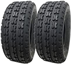 SET OF TWO: All Terrain Tubeless Type Front Tires 19x7-8 (175/80-8) for All Terrain Conditions - Split Knob Tread Traction and Control