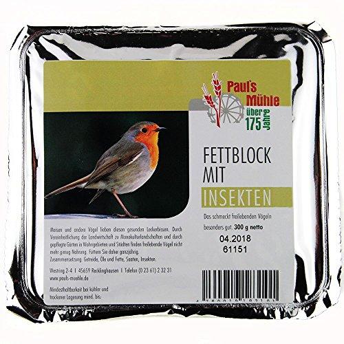 Paul's Mühle Fettblock mit Insekten (Vogelbuffet) 12 x 300 g