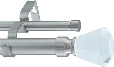 Meriville 1-Inch Diameter Tondo Telescoping Double Window Treatment Curtain Rod, Crystal Finial, 84-Inch to 120-Inch, Satin Nickel