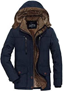Fensajomon Men Plus Size Cotton Hooded Fall /& Winter Warm Thicken Down Puffer Coat Quilted Jacket Outerwear
