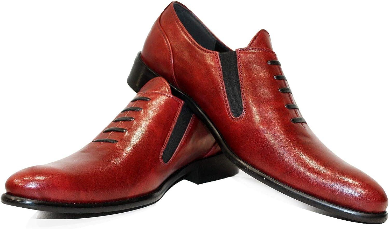 Modello Rabetto - - - Handgjord italiensk läder herr Färg Röd Oxfords Klädskor - Cowhide Smooth läder - Slip -On  online-försäljning