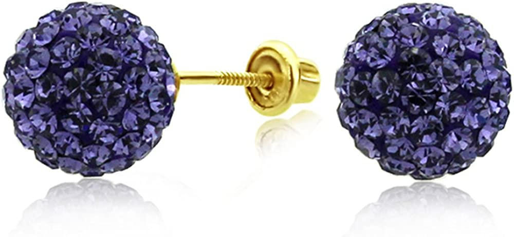 14K Yellow Gold Purple Crystal Ball Stud Earrings Screwback (Available 6mm, 8mm)