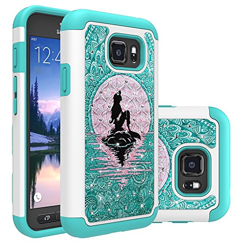 Galaxy S7 Active Case, S7 Active Case, Heavy Duty Shockproof Studded Rhinestone Crystal Bling Hybrid Case Silicone Protective Armor for Samsung Galaxy S7 Active G891 (Mermaid with Moon)
