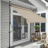[pro.tec] Toldo articulado con armazón - Color de Arena - 300 x 120 x 200-300 cm - Toldo Enrollable terraza balcón - Protector de Sol - Parasol