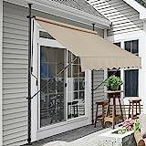 pro.tec] Tenda da Sole avvolgibile a Barra Quadra con Gambe - 300 x 120 x 200-300 cm - Parasole - Color Sabbia