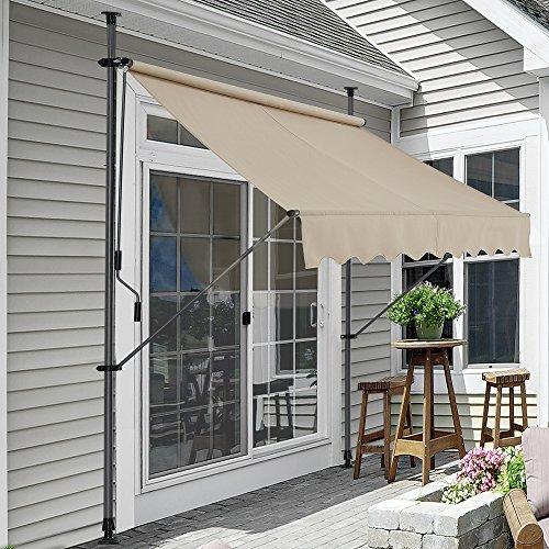 pro.tec Klemmmarkise Sandfarben 200 x 120 x 200-300cm Markise Balkonmarkise Sonnensegel Sonnenschutz ohne Bohren