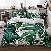 LIASDIVA 寝具カバーセット 選べる シングル ダブル 4点セット、クラシックグリーントロピカルモンステラジャングルパームリーフデザイン、洋式/和式兼用 掛け布団カバー 四季適用 175 * 210cm