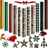 14 Pieces Christmas Buffalo Plaid Iron-Coated Vinyl HTV Leopard Pattern Heat Transfer Vinyl Glitter HTV Iron-Coated Vinyl Heat Transfer Vinyl for T-Shirt Fabric Craft, 12 x 10 inches
