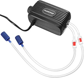 POPETPOP Aquarium Air Pump Double Outlets Adjustable Fish Tank Oxygen Pump with Accessories Air Stone Check Valve and Tube,  2X 2.5L/min