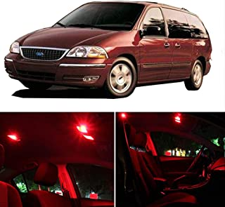 SCITOO LED Interior Lights 9pcs Red Package Kit Accessories Replacement Fits for 2001 2002 2003 Ford WINDSTAR