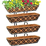 4pcs 24 Inch Window Deck with Coco Liner, Y&M 24' Window Boxes Horse Trough with Coconut Coir Liner, Black Metal Hanging Flower Planter Window Basket Deck Railing Planter Boxes for Outdoor Indoor Lawn