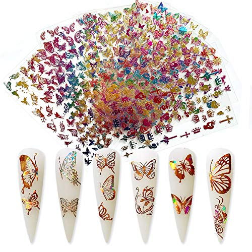 Butterfly Nail Art Sticker Decals Gold Nail Art Adhesive 3D Sticker Butterfly Design Nail Foil Luxury Laser Gradient Colorful Eros Butterflies Sticker for Acrylic Nails Design (Colorful)