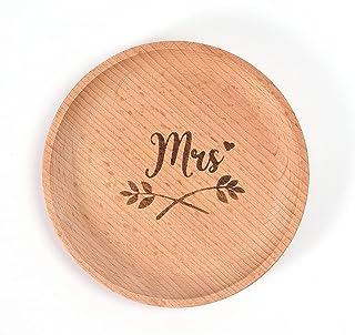 صينية خشبية مستديرة - صينية 12.9 سم وصينية مفاتيح للخواتم والقلادات والأساور والأقراط والمجوهرات والأكسسوارات الصغيرة.