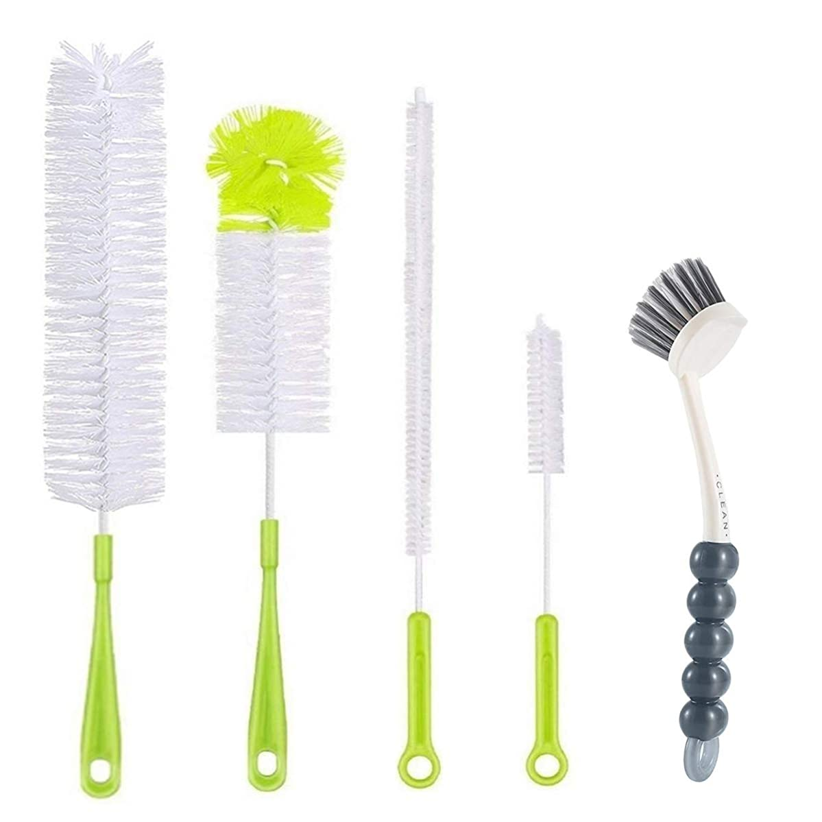 5Pcs Bottle Cleaning Brush Set-Long Handle Water Bottle Cleaner Brushes for Washing Wine Beer Baby Bottles,Include Grips Dish Brush|Bottle Brush|Kitchen Sink Brush|Straw Brush|Kettle Spout|Lid Brush