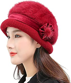 TOTOD Ears Hat Fashion Women Lady Winter Warm Crochet Knitted Flowers Decorated Caps