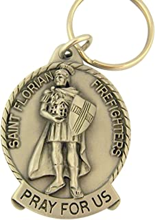 Bethany Collection Key Ring Pewter Catholic Patron Saint Pray for Us Medal Key Chain, 2 Inch