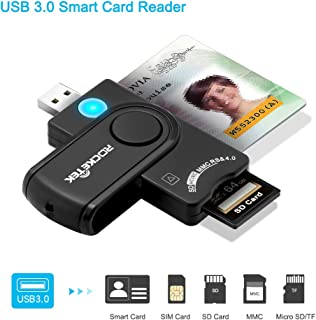 USB 3.0 Smart Card Reader, Rocketek DOD Military USB Common Access CAC Memory Card Reader compatible with Windows, Mac OS X-Build in SDHC/SDXC/SD Card Reader & Micro SD Card Reader for SIM, MMC RS&4.0