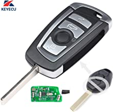 Keyecu EWS Modified Flip Remote Key 4 Button for BMW X5 Z3 Z4 2001-2005 HU92 Blade