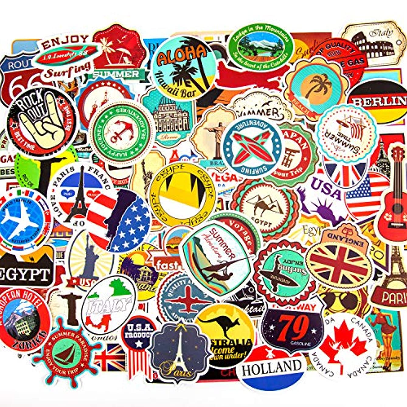 AIEX Travel Sticker Graffiti Sticker with World Famous National Logo Waterproof Stickers for Laptop, Luggage and Books Decal(100 Pcs)