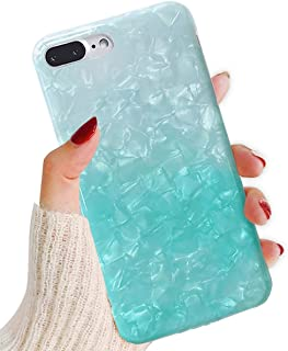 J.west iPhone 8 Plus Case/iPhone 7 Plus Case, Cute Ultra Thin [Tinfoil Series] Macaron Color Bling Lightweight Soft TPU Case Cover for iPhone 7 Plus / 8 Plus (Light Teal)