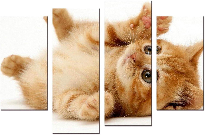 tienda de venta en línea XiaoHeJD 4 4 4 Unidades Animales Modernos Mascota Gato Parojo Arte de la Lona Impresión del Cartel Nursery Cuadro de la Parojo Nios Habitación del Bebé Decoración Pintura-L  para barato