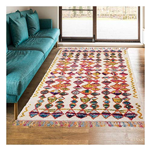 Alfombra estilo bereber 80 x 150 cm, rectangular Berber Tribal MK 01 multicolor, para habitación con calefacción por suelo radiante.