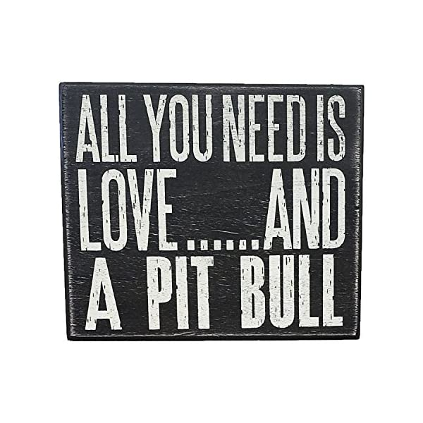 JennyGems All You Need is Love and a Pit Bull (Pitbull) - Wood Pitbull Sign - American Pit Bull Terrier Home Decor - Pitt Decorations and Accessories - Pitbull Mom 2
