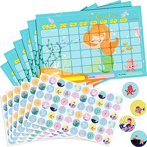 12 Tablas de Recompensas con Pegatinas Incluye 6 Tablas de Comportamiento, 6 Hojas/ 360 Piezas Tabla de Recompensas Pegatinas Reutilizables para Niños (Estilo Sirena)