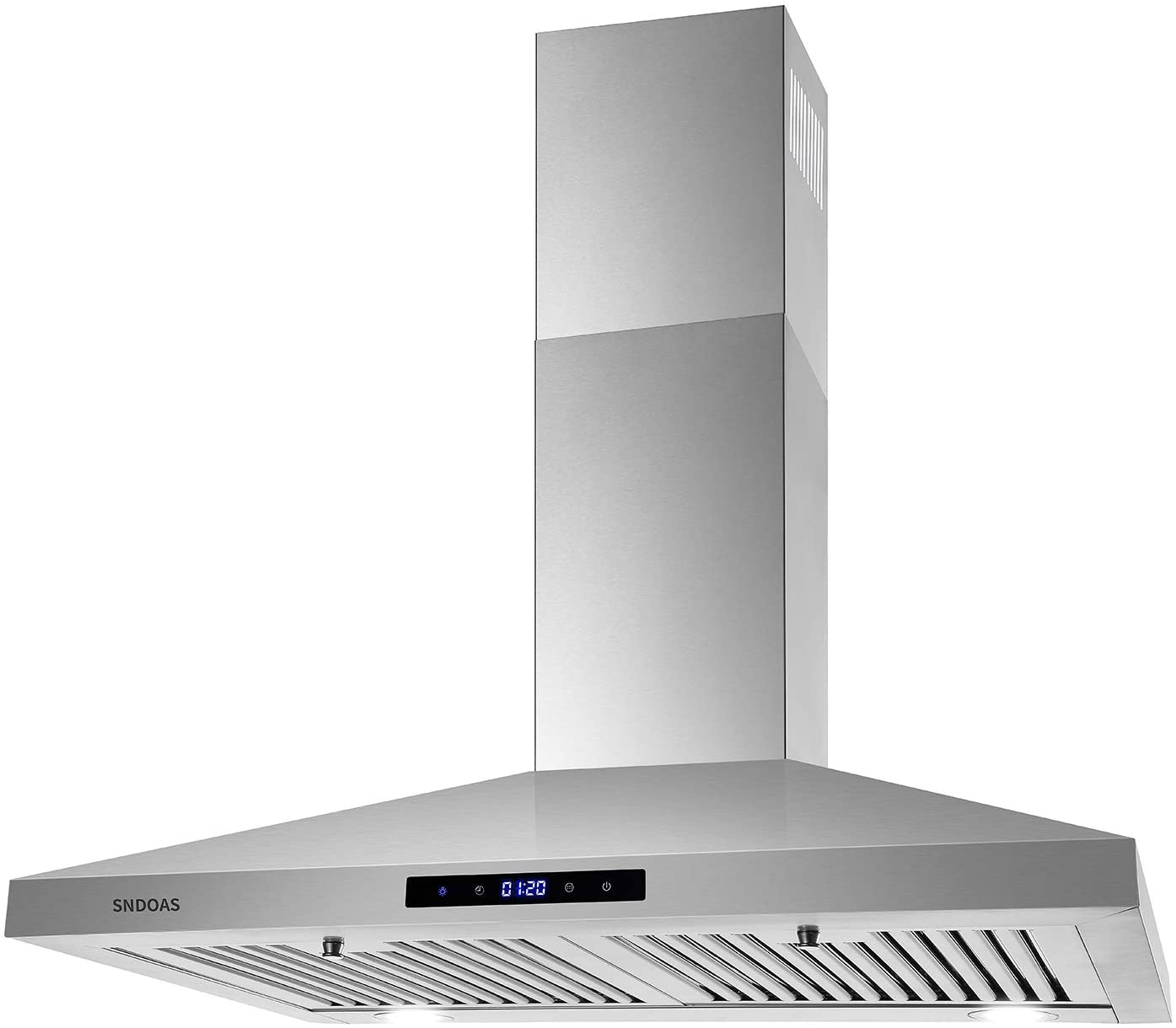 30 inch Wall Mount Range Hood, Stainless Steel Kitchen Hood with 2 LED Lights,Touch Control Kitchen Vent Hood, Ducted/Ductless Convertible, Ceiling Chimney-Style Stove Vent Hood,SNDOAS