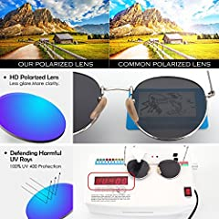 GQUEEN Retro Round Circle Sunglasses Polarised Gold Brown, Vintage Oval Metal Frame Mirrored UV400, MFF7 #3