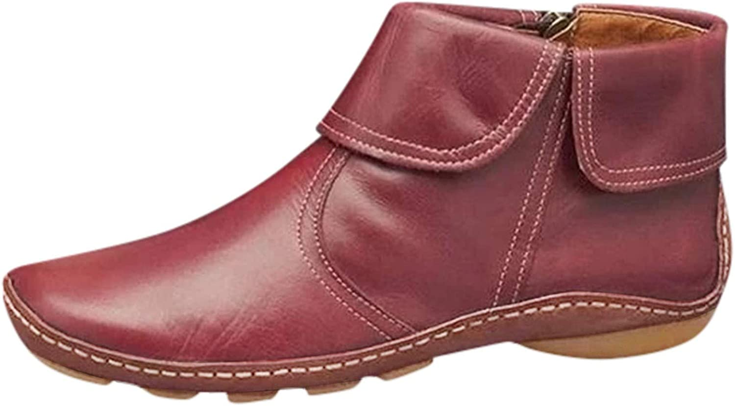 AODONG Cowboy Boots for Women Flat Leather Round Toe Hiking Cowgirl Boots Ankle Boots Slip On Zipper Work Boots