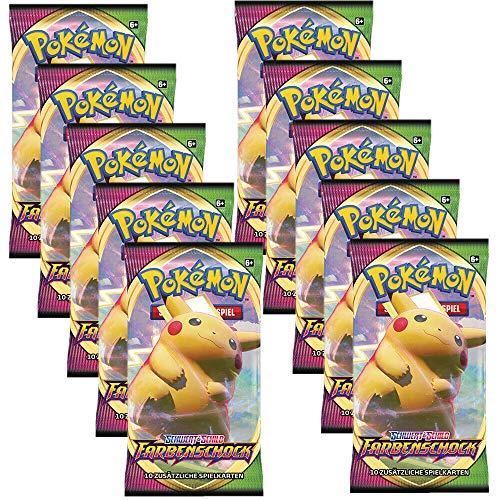 Arkero-G Pokemon 10 Booster Farbenschock Sammelkarten | DEUTSCH | Schwert & Schild Karten Serie | + 100 Soft Card Sleeves