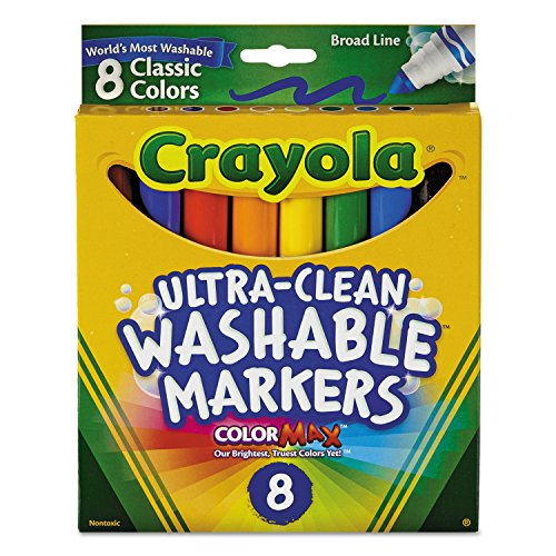 Crayola 587808 Washable Markers Broad Line, 8 Count Classic Colors, Case of 24