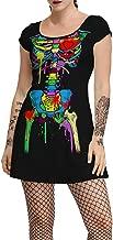 Women's Halloween Party Costume Short Sleeve Skeleton Print Terror Humour Empire Waist Vintage Mini a Line Swing Dress