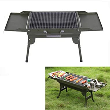 bestshop BBQ Grill, Durable Charcoal Grill Stainless Steel Folding Charcoal Barbecue Grill, PortableTabletop Barbecue Smokers
