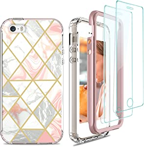 Jeylly iPhone 5/5S/SE 2016 Case, Military Grade 2 in 1 Soft TPU Bumper Case with Screen Protector, Slim Stylish Elegant Vibrant Marble Women Girls Phone Case Designed for iPhone 5/5s/SE, Rose Gold
