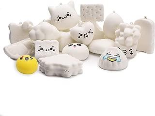 WATINC Random 10 Pcs DIY Squishy Cream Scented Kawaii Simulation Lovely Toy Medium Mini Soft Food Squishies Bread Toys Keychains, Phone Straps, Bonus Random Emoji Stickers