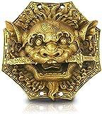 FMOGE Bagua Espejo Feng Shui Cobre León Mordedura Espada Chisme Espejo Cabeza De Animal Hogar Hermosos Adornos Colgante Feng Shui Decoración Escultura Decoración