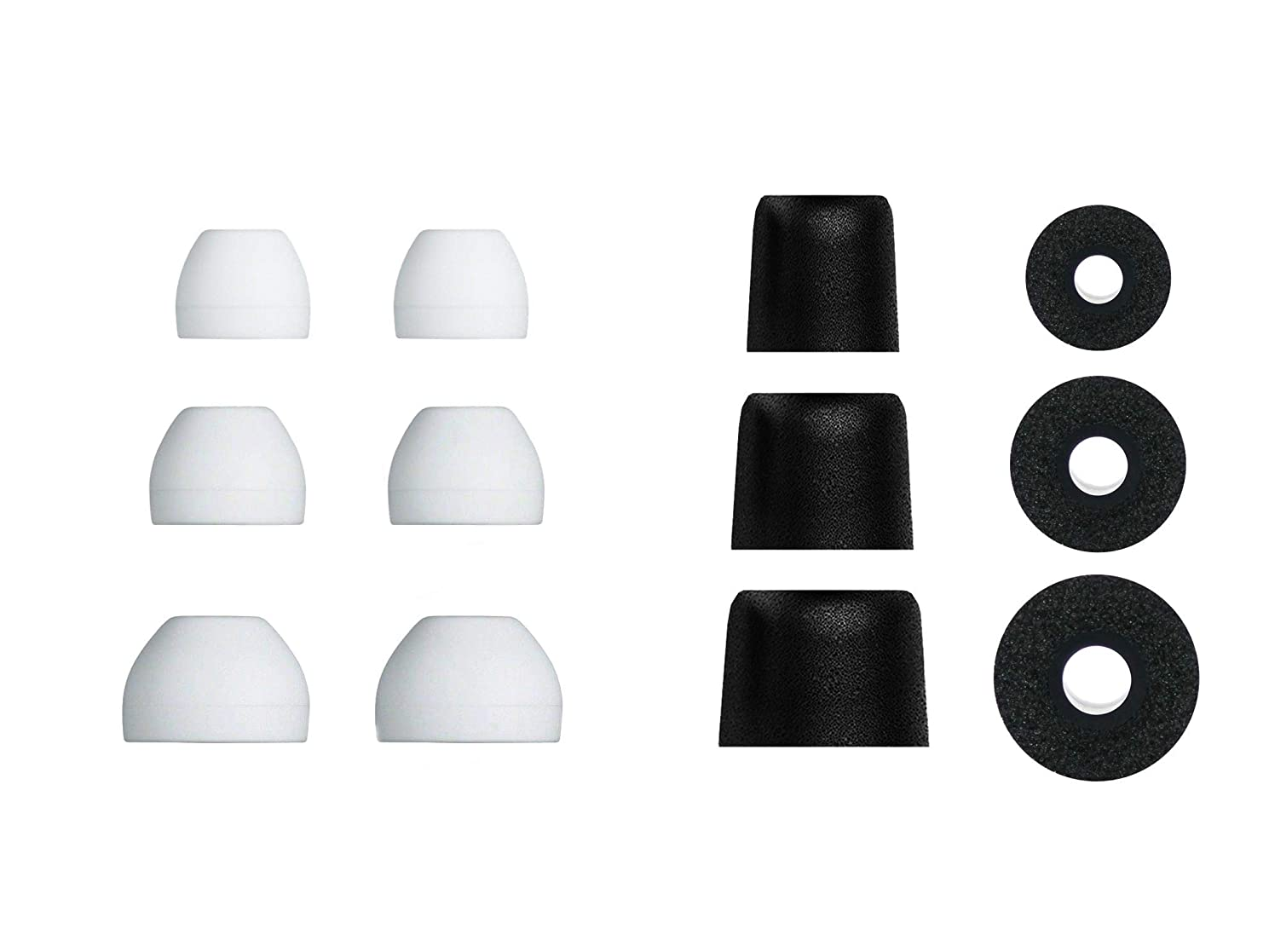 12 pcs (WHB-BMF-sB) S/M/L Hybrid and Memory Foam Replacement Adapters Earbuds Eartips Set Compatible with Sony in-Ear Earphone Headsets