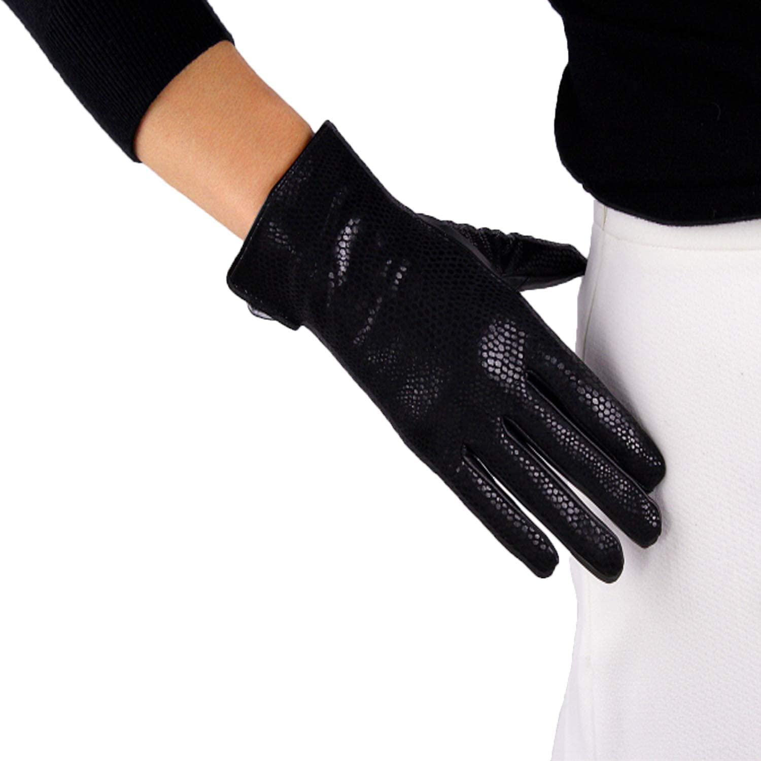 DooWay Sexy Real Leather Gloves Wrist Long 10inches 24cm Black Snakeskin Printing Warm Lining Driving Cosplay Costume Party Gloves