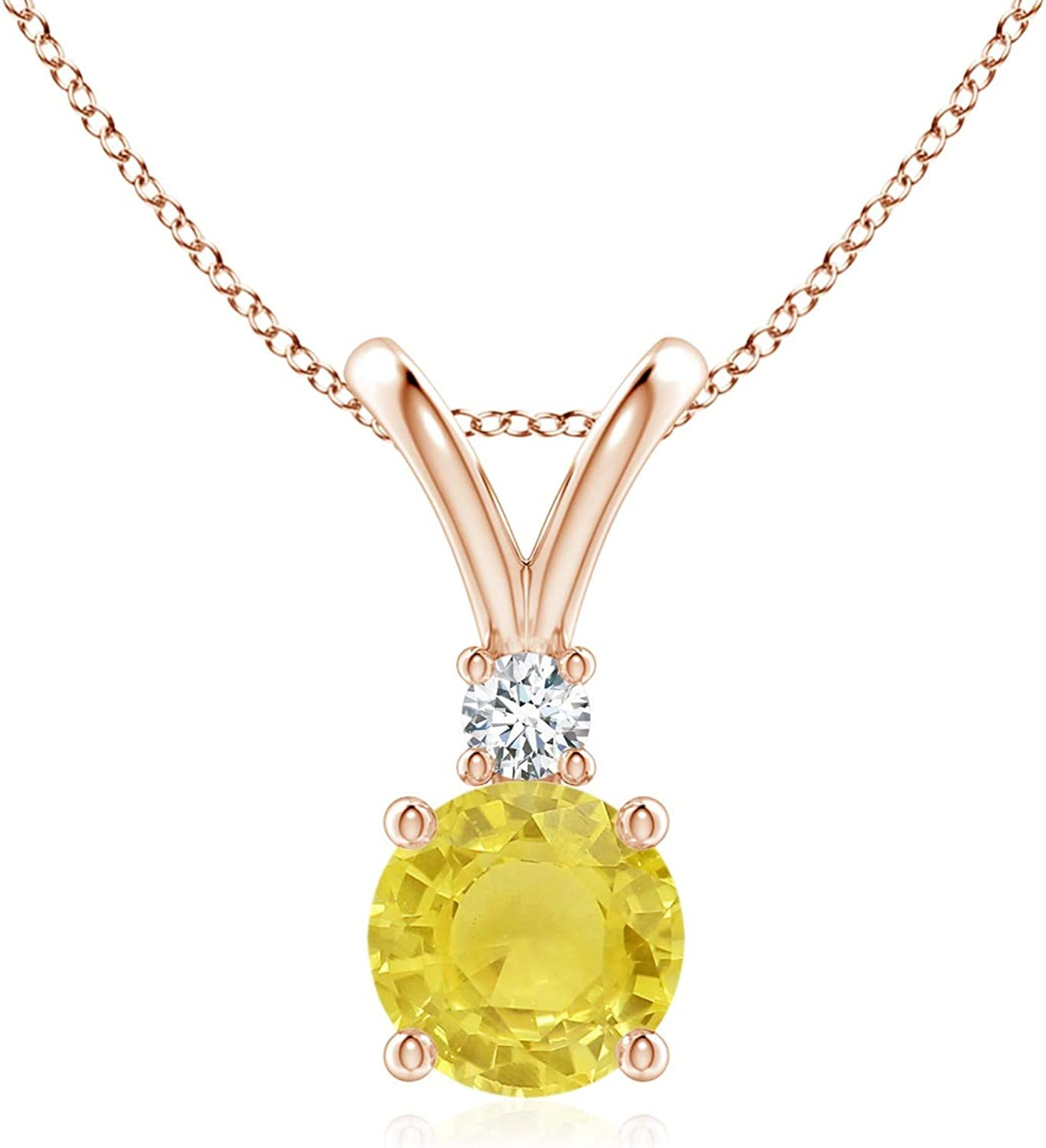 Popular products Round Yellow Sapphire Solitaire V-Bale 1 Diamond in Super sale with Pendant